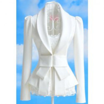 Vintage Lapel Neck Bow Embellished Slimming Long Sleeve White Blazer For Women