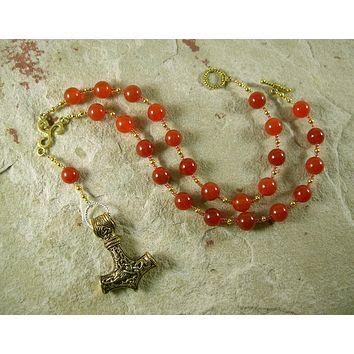Thor Prayer Bead Necklace in Carnelian:  Norse God of Thunder, Protector of Humanity