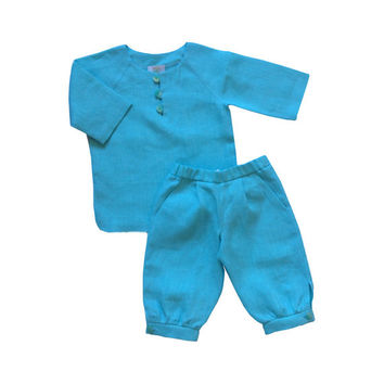 Boys linen suit turquise blue, toddler linen costume, baby boy knocker pants, linen shirt,  toddler linen suit, knocker style pants
