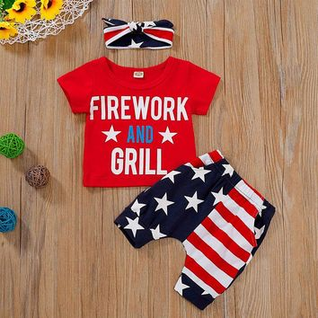 Fireworks And Grill Boy Outfit Flag Shirt Shorts And Headband