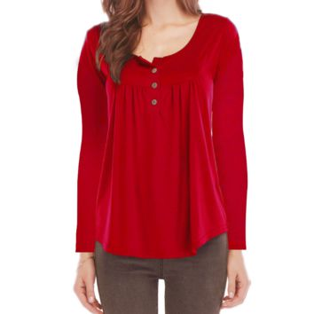 Women's Solid Color Button Long Sleeve T-Shirt