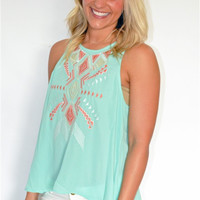 High Neck Aztec Embroidered Top