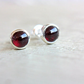 Rhodolite Garnet Studs Sterling Silver Little Tiny Earrings 6mm Pink Garnet Earrings Silversmithed Metalsmithed