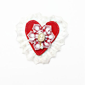 Valentines day gift, Red vintage style brooch, vintage, Lady Cameo, marie anthonette, brooch, gothic, steampunks, victorian