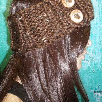 Knit Headband Ear Warmer Hand Knit Brown And Beige Tweed Woodsy Chunky Ribbed With Wood Buttons
