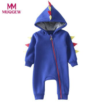 Fashion Autumn Winter Warm Jumpsuit for Kids Newborn Baby Boys Girls Zip Hooded Dinosaur Jumpsuit Long Sleeve Outfits Clothes