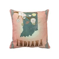 Modern Vintage Indiana State Map- Pastel Peach Pillow