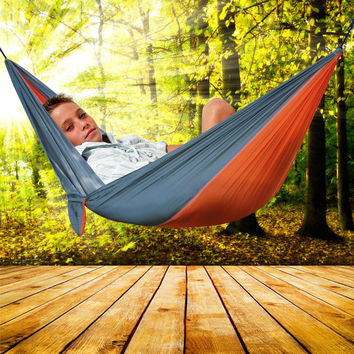 Portable Double Person Camping Garden Leisure Travel Hammock Outdoor Sport Fun Toy Kids Swings