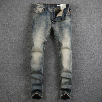 Men Rinsed Denim Slim Vintage Weathered Jeans [748306694237]