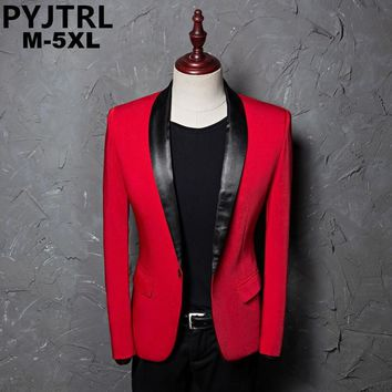 PYJTRL Men's Red Shawl Collar Single Button Suits Jacket Wedding Party Business Casual Blazer Coat Masculino Slim Fit Men