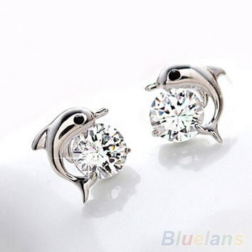 [flash Women's Fashion Jewelry Cute Dolphin 925 Sterling Silver Crystal Rhinestone Zircon Earrings Studs (Size: One Size, Color: Silver) = 5988018881