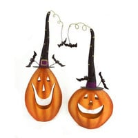 2 Halloween Decorations - Smiling Pumpkins