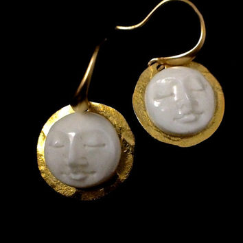 Harvest moon earring, Zen, carved bone, ivory, ...