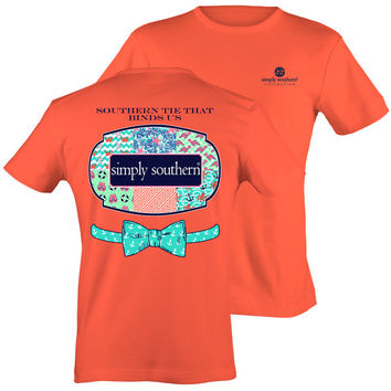 Simply Southern Tie That Binds Us Bow Anchor Chevron Pattern Coral Bright T Shirt