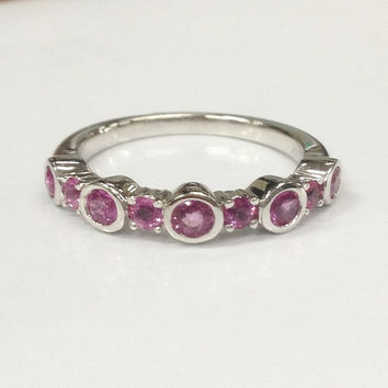 Unique Design!Pink Sapphire Wedding Ring 14K White Gold,Natural Gemstone,Stackable bridal ring,Half Eternity Matching Band,Anniversary Ring