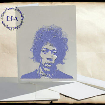 Jimi Hendrix Purple Poster Art - - 5 Cards & Envelopes, Printable Art on Matte Note Cards,Everyday and Special Cards