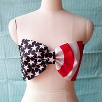 New Bow Bandeau Bikini Top-Swimsuit Top-American flag USA flag Bow Biniki
