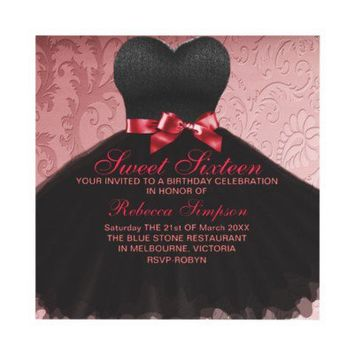 Pink Sweet Sixteen Black Dress Birthday Invitation from Zazzle.com