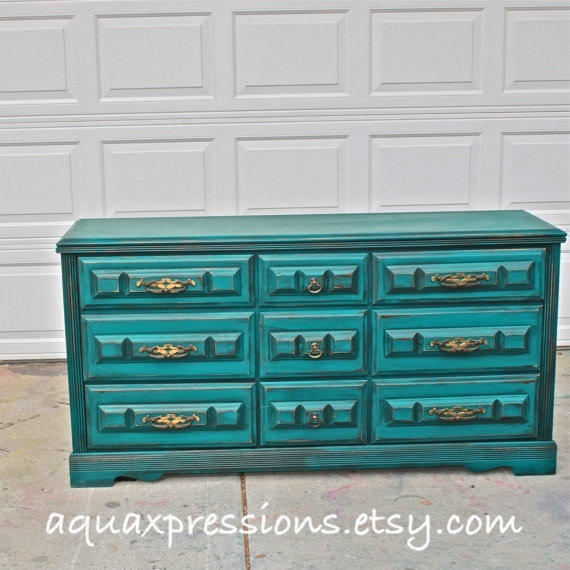 Distressed Bedroom Sets Bedroom Cupboards With Mirror Sliding Doors Bedroom Colour As Per Vastu Shabby Chic Bedroom Sets: Teal Vintage Dresser/ Bright Buffet/ From AquaXpressions
