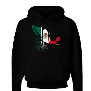 Mexican Roots - Mexico Outline Mexican Flag Dark Hoodie Sweatshirt by TooLoud