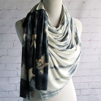 Black and White American Flag Jersey Knit Handmade Shibori Tie Dye Summer Infinity Scarves Accessory