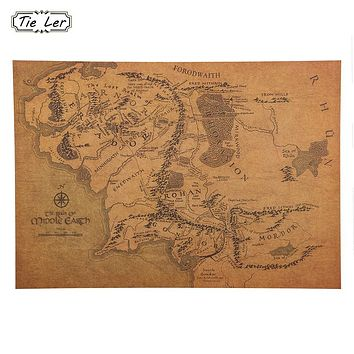 TIE LER Vintage Middle Earth Map On The Lord of The Rings Poster Home Decor Wall Sticker 51x35.5cm Retro Kraft Paper