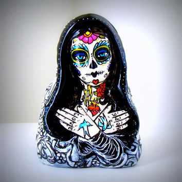 Tattoo Mary Planter Day of the Dead Hand Painted Ceramic Madonna Upcycled Black White Sacred Heart Blue Birds Sugar Skull