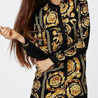 Black And Gold Floral Print Long Sleeve Blouse