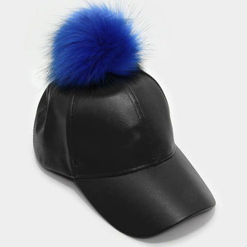 Faux Leather Fur Pom Pom Baseball Hat - Black/Royal Blue