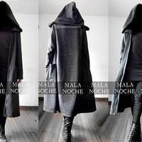 Cardigan Infinity, Hood oversize, Fuzzy, Goth, Dark clothing, Black coat, Gothic coat, Hooded cloak, Witch, Occult, long cape,Cape with hood
