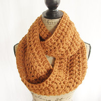Ready To Ship Burnt Orange Infinity Crochet Scarf Cowl Loop Circle Accessory