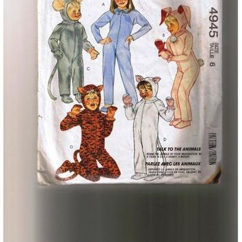 MOUSE, CAT, TIGER, 1986 McCall's Animal Costume Pattern, Un-Cut, Mouse, Mice, Tiger, Rabbit, Bunny, Roam the jungle of your imagination be a