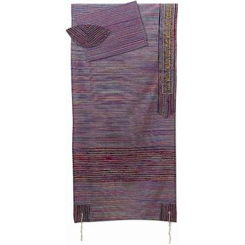 Multi Color Hand Knit Wool Tallit Prayer Shawl Set