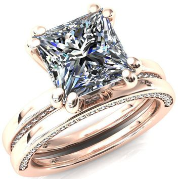 Ain Princess/Square Moissanite 4 Double Prongs Blue Sapphire Bezel Diamond Side Shank Ring