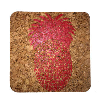 Pineapple-Coastal Cork Coasters-Hostess Gift/Party/Home Decor-Red