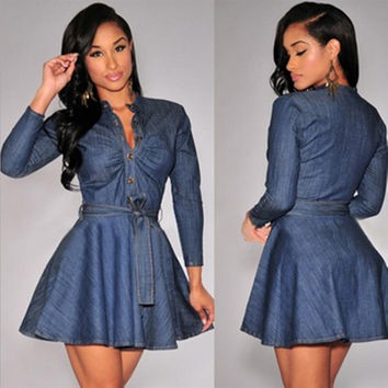 Blue Waist Tie Long Sleeve Denim Skater Dress