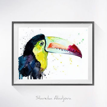 Original Watercolour Painting- Keel-Billed Toucan art, animal, illustration, animal watercolor, animals paintings, animals, portrait,