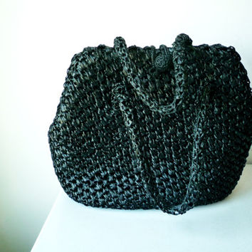 Vintage Italian Black Raffia Straw Handbag Made in Italy, SALE