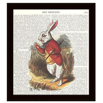 "Alice in Wonderland Dictionary Art Print 8"" x 10"" White Rabbit Looks at Pocket Watch"