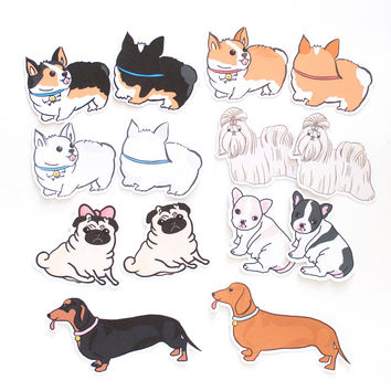Cute Dogs Die Cut Stickers (Set of 14)
