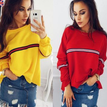 One-nice™ Hot sale winter long sleeve small stripe loose T-shirt top blouse