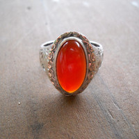 Carnelian & Hand-Etched Sterling Ring
