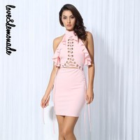 PRETTY PETTY LACE UP RUFFLE DRESSS