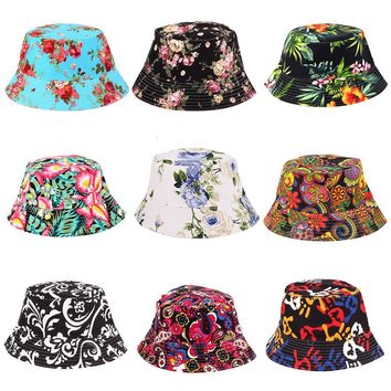 Newly Fishing Hat Sun Protetion For Men Women Floral Sun Hat Bucket Funny Summer Holiday Novelty Beach Cap