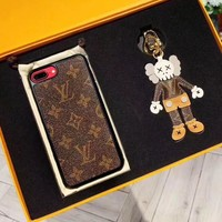 LV Iphone hot seller for women's printed coffee-colored mobile phone case
