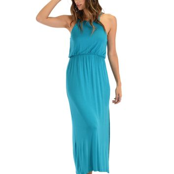 Lyss Loo Cherish The Day Teal Maxi Dress With Cinched Waist