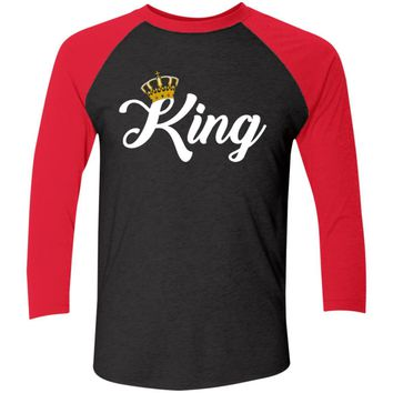 King and Queen Matching Couples Baseball T-Shirt Jersey, Unisex, XS-3XL, Black