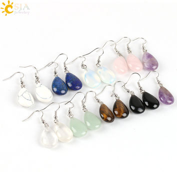 CSJA 2016 Hook Glaze Tear Water Drop Opal Crystal Lazuli Beads Dangle Natural Pendant Stone Earring Handmade Women Jewelry E106