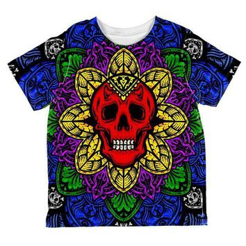 PEAPGQ9 Halloween Demon Skull Mandala All Over Toddler T Shirt