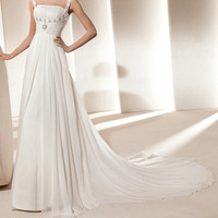 Charming Spaghetti Straps Rhinestone and Ruche Design Women's Chiffon Flounce Wedding Dress
